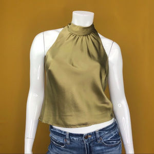 ANDREA POLIZZI Cropped Green Blouse Size 8